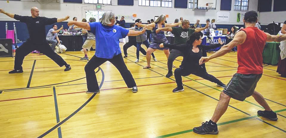 Photo of a yoga class in the Green Lake Community Center