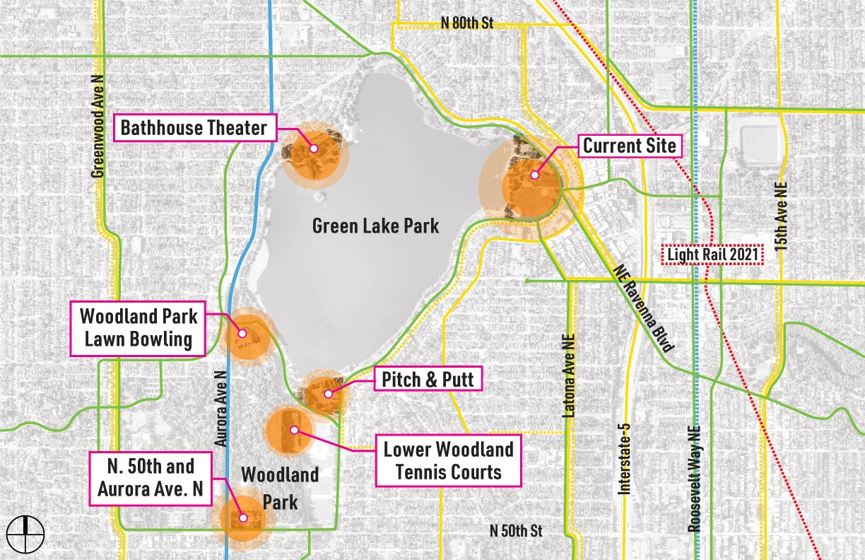 Aerial view of the Green Lake area, showing Public Transit, bicycle routes, and parking in the vicinity of all potential community center locations.
